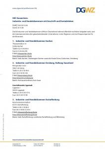 DGWZ 1003:2013-07 Industrie- und Handelskammern mit Anschrift und Kontaktdaten