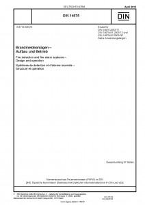 DIN 14675:2012-04 Brandmeldeanlagen (BMA) - Aufbau und Betrieb (Titel, Norm) und Sprachalarmanlagen (SAA)