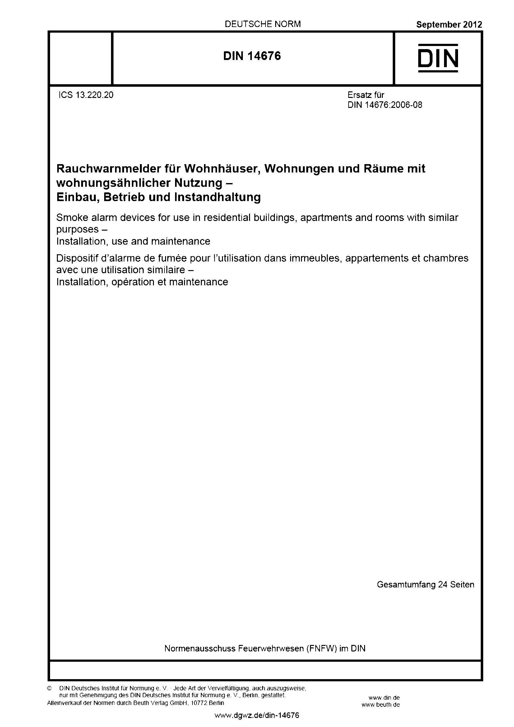 DIN 14676 Rauchwarnmelder - Einbau, Betrieb, Instandhaltung (Titel der Norm)