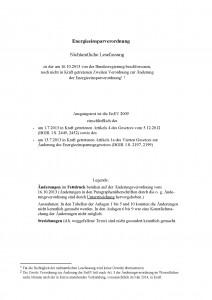 Energieeinsparverordnung (EnEV) 2014 Titel, Novelle, Änderungen zur Fassung 2009 vom 16.10.2013