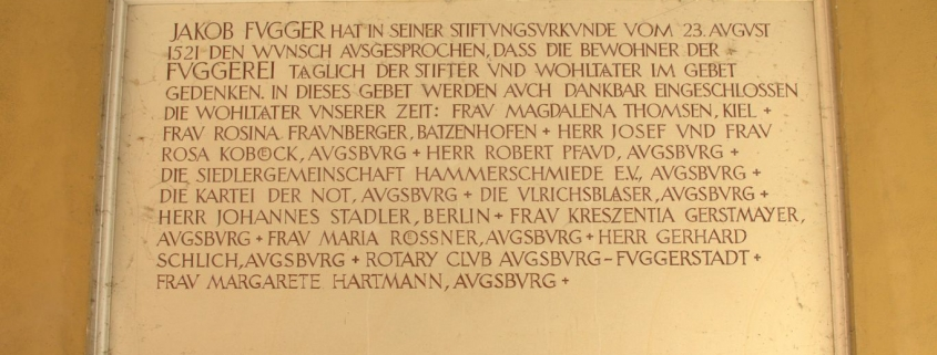500 Jahre Fuggerei 2021 - Stiftertafel Jakob Fugger Augsburg