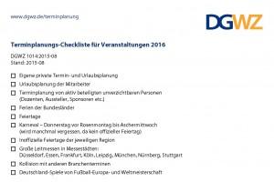 Terminplanungs-Checkliste für Veranstaltungen 2016 (DGWZ 1014)