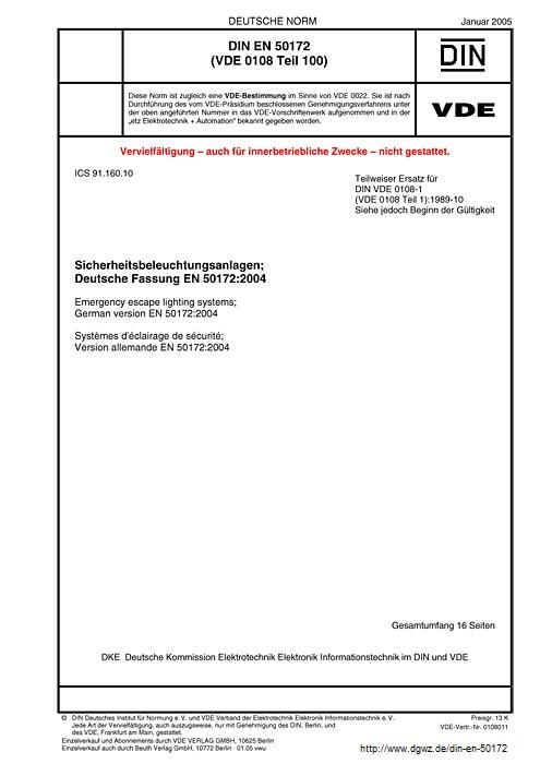 DIN EN 50172 VDE 0108-100:2005-01 Sicherheitsbeleuchtungsanlagen (Titel)