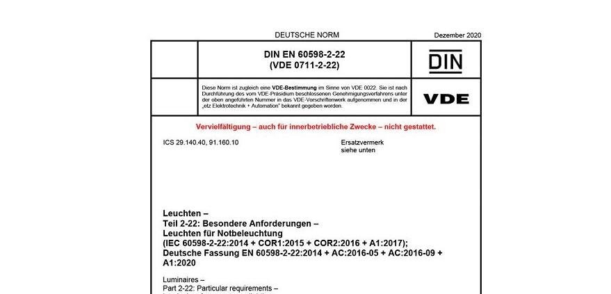 DIN EN 60598-2-22 Leuchten - Teil 2-22: Besondere Anforderungen - Leuchten für Notbeleuchtung
