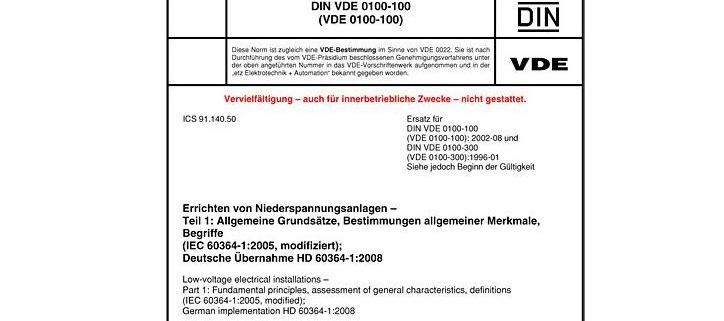DIN VDE 0100-100 Errichten von Niederspannungsanlagen