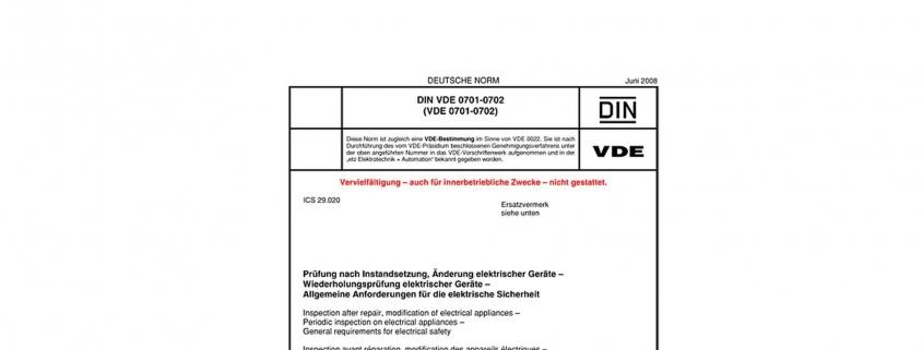 DIN VDE 0701-0702 Prüfung ortsveränderlicher elektrischer Betriebsmittel