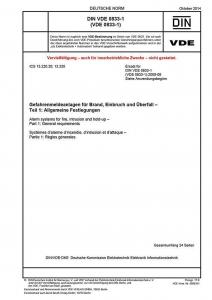 DIN VDE 0833-1 Gefahrenmeldeanlagen für Brand, Einbruch und Überfall - Teil 1: Allgemeine Festlegungen