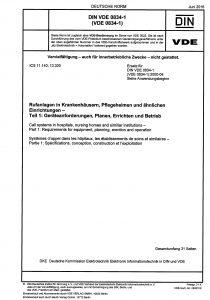 Titelblatt: DIN VDE 0834-1:2016-06 Rufanlagen in Krankenhäusern, Pflegeheimen und ähnlichen Einrichtungen - Teil 1: Geräteanforderungen, Planen, Errichten und Betrieb
