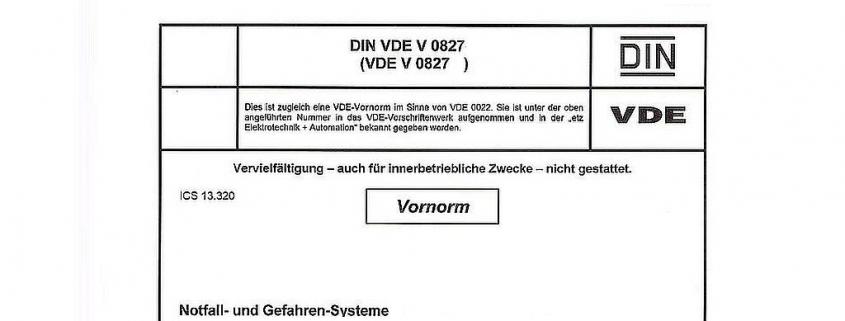 Titelblatt Vornorm: DIN VDE V 0827 Notfall- und Gefahren-Systeme (NGRS)