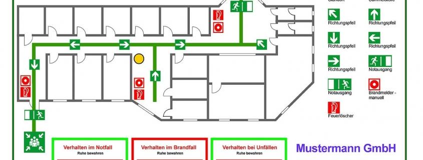 Flucht- und Rettungsplan nach DIN EN ISO 23601