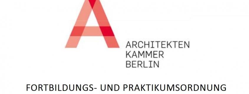 Fortbildungspunkte für Archiktekten und Planer - Fortbildungs- Praktikumsordnung der Architektenkammer Berlin