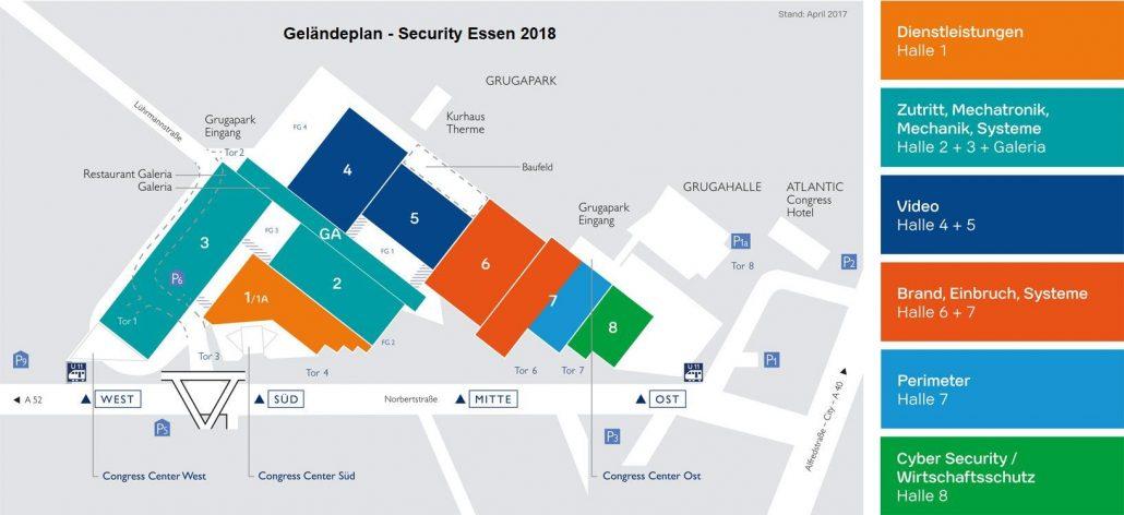 Messe Security Essen 2018 - Geländeplan, Hallenplan, Lageplan, Plan