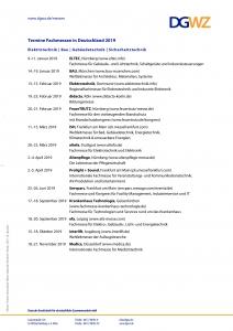 Termine Fachmessen in Deutschland 2019 - Elektrotechnik, Bau, Gebäudetechnik, Sicherheitstechnik
