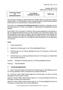 Technische Regeln für Betriebssicherheit TRBS 1203 Zur Prüfung befähigte Person