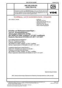 Titel DIN VDE 0100-410:2018-10 Errichten von Niederspannungsanlagen - Teil 4-41: Schutzmaßnahmen - Schutz gegen elektrischen Schlag