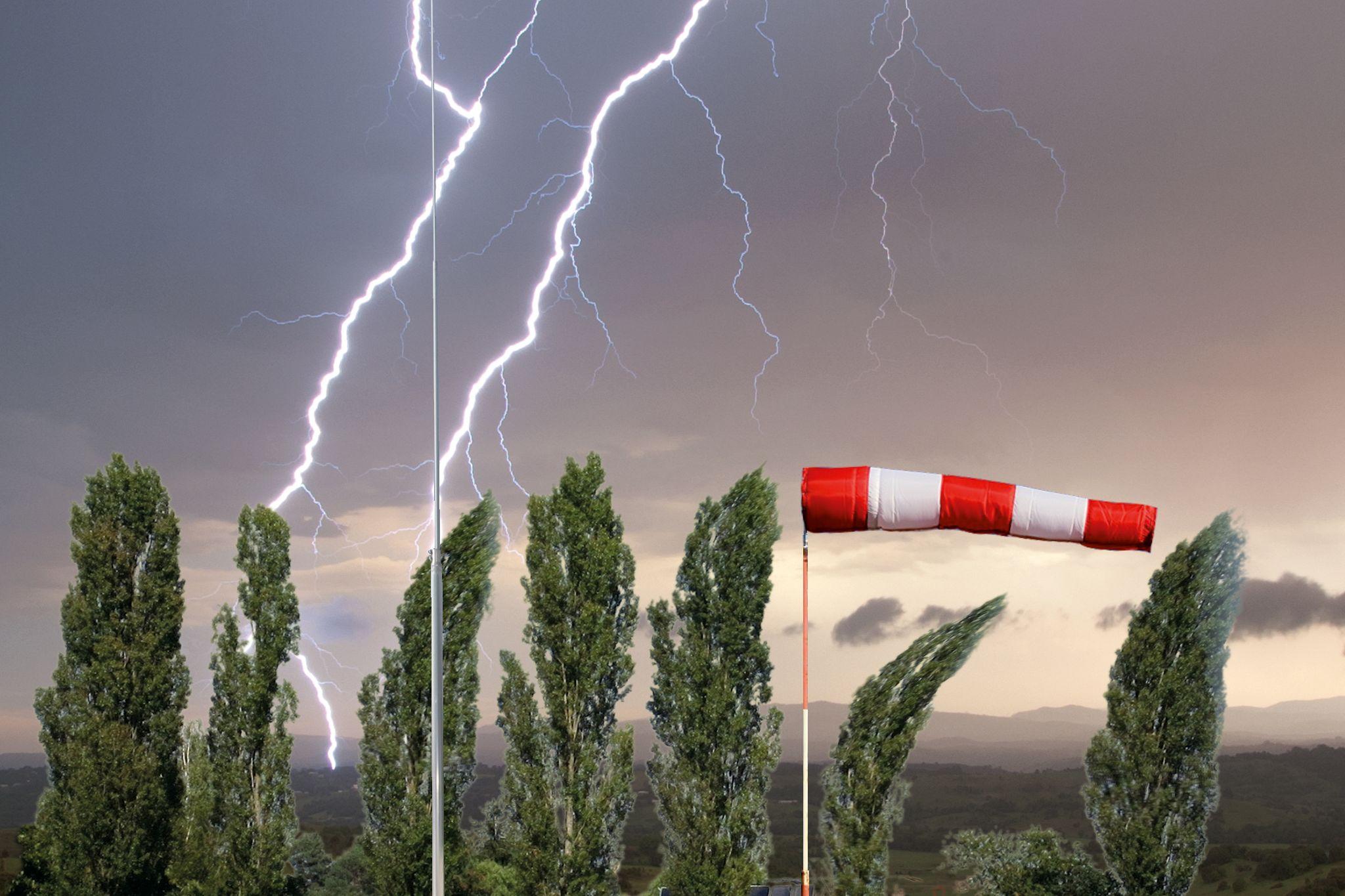 Blitzschutz: Windlast-Anforderungen für Fangeinrichtungen